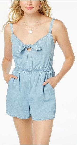 Macy's Blue Cotton Tie-Front Romper