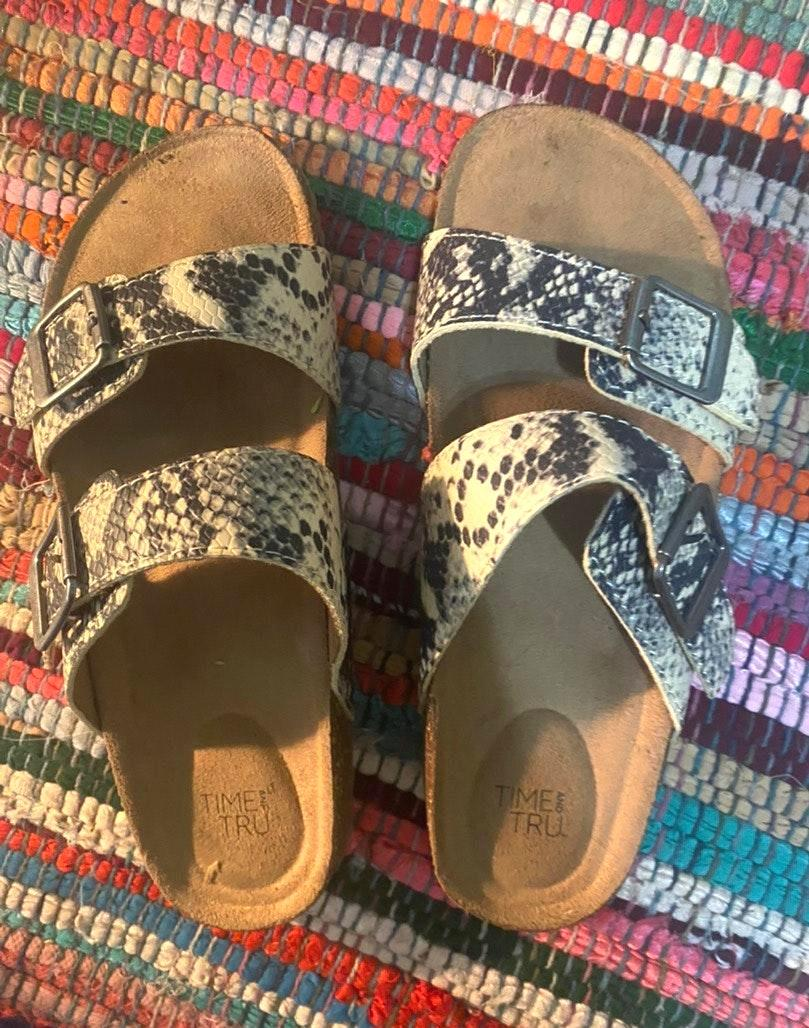 Time and Tru Snakeskin Sandals   Curtsy