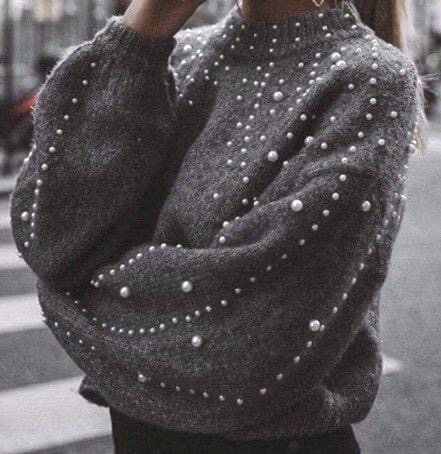 Grey Sweater With Pearls