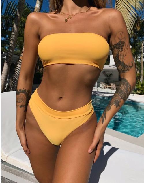Tiger Mist Yellow High Waisted Bikini Bottoms