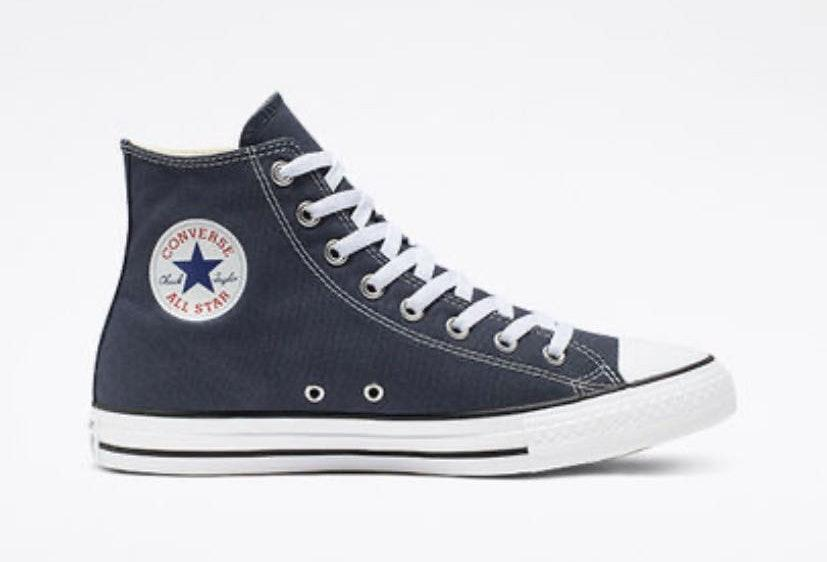 Converse Navy Blue High Tops   Curtsy