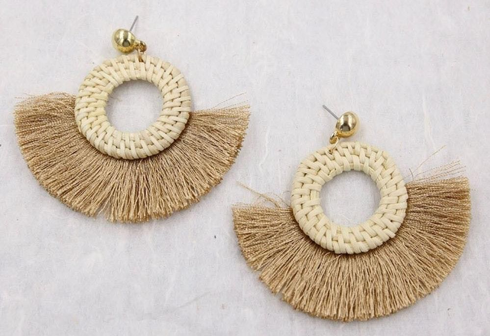 Circle Beige Khaki Rattan Straw Woven Tassel Beach Summer Earrings