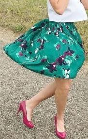 Merona Teal Floral Pleated Skirt