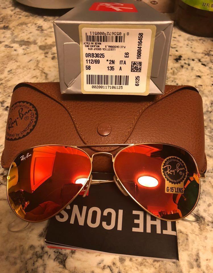 Ray-Ban Rayban Sunglasses Orange Size 58mm