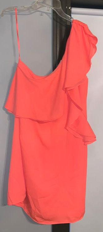 Sugar and L!ps Coral One Shoulder Dress Size Large BNWOT