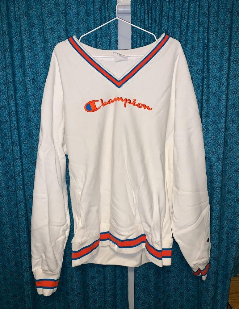 Champion White Red and Blue sweater