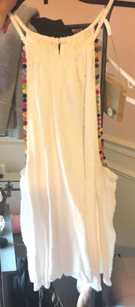 LA Hearts White Halter Shirt With Rainbow Pom Poms