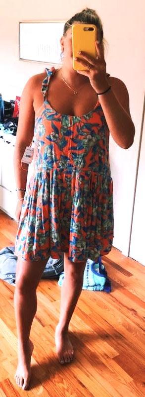 Free People Orange Floral Sun Dress