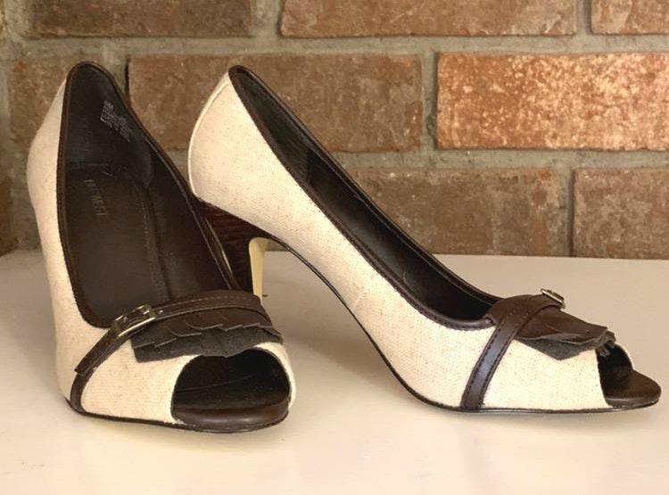 nine west open toe heel shoes