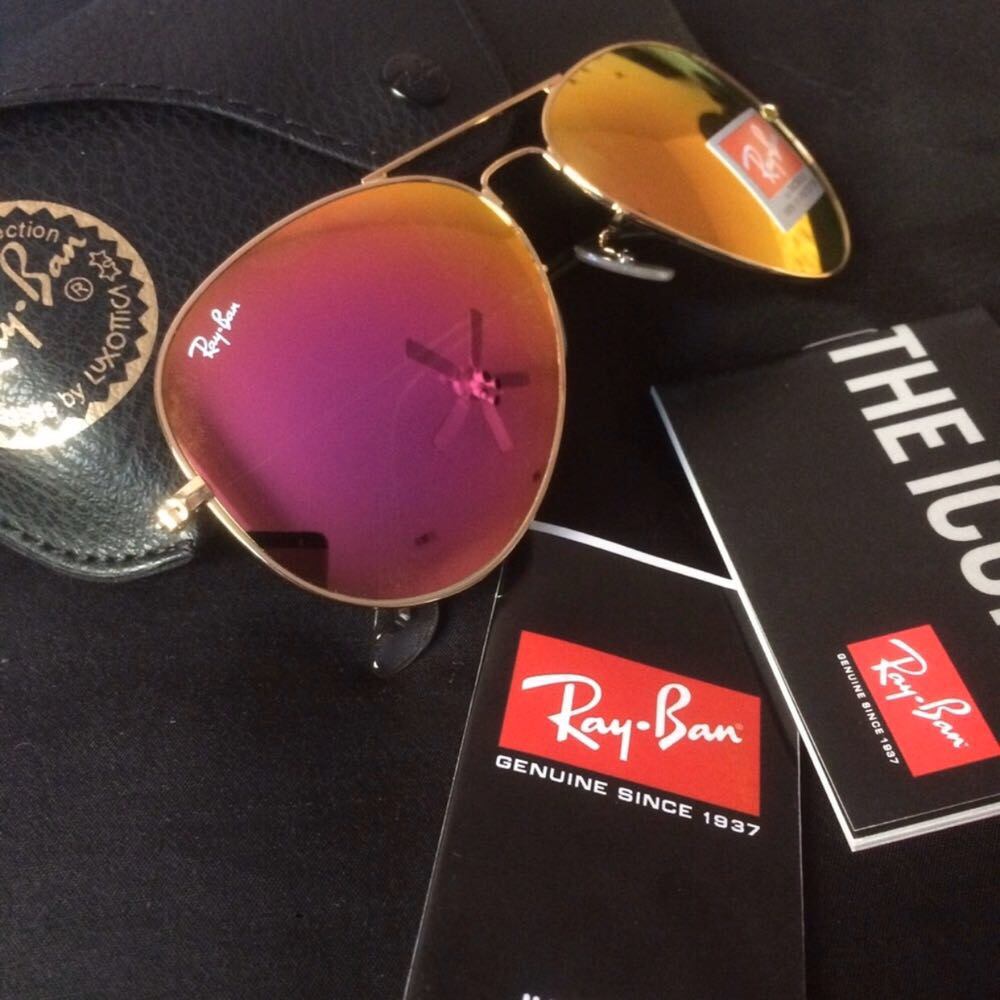 Ray-Ban Aviator Pink Mirror Oversized Lens RB3026