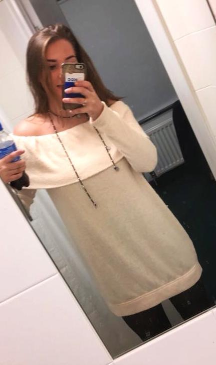 Vestique off the shoulder sweater dress
