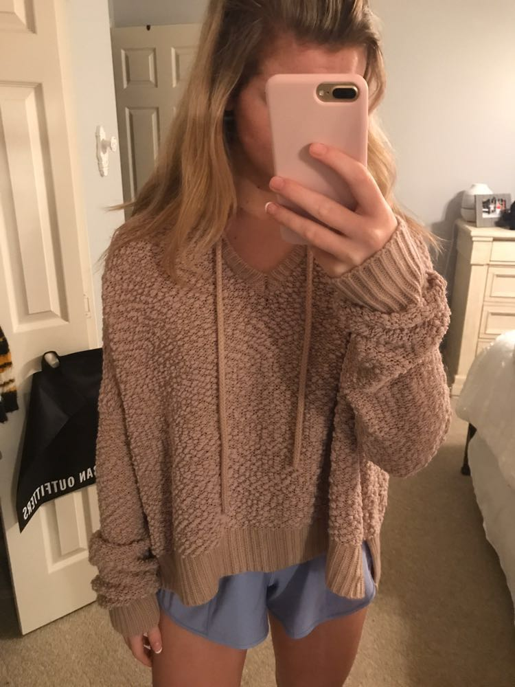 Brown Waffle Knit Sweater