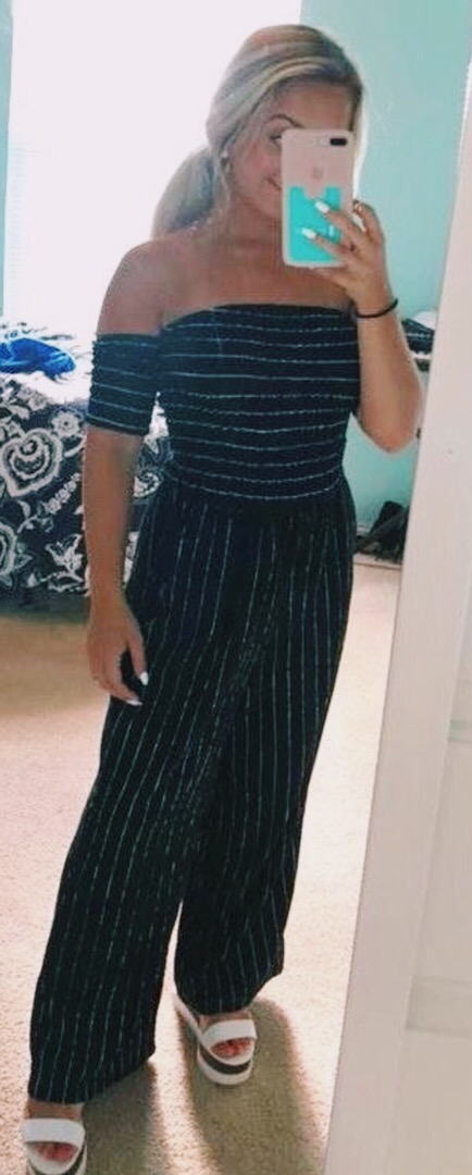 Altar'd State Black and White Striped Jumpsuit
