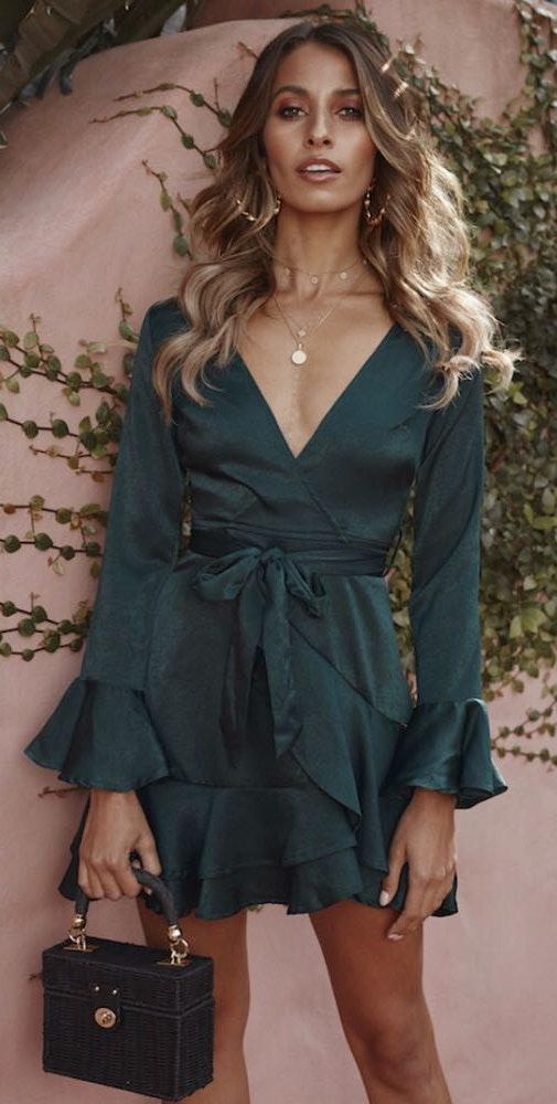 Hello Molly Forest Green Wrap Dress