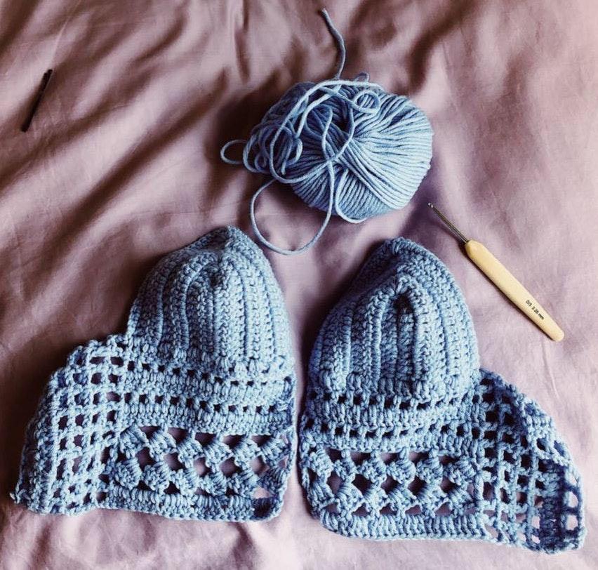 Handmade Crochet Women's Baby Blue Top In All Sizes BRALETTE
