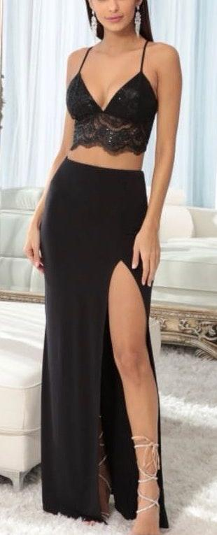 Lucy in the Sky Two Piece Slit Long Formal Dress