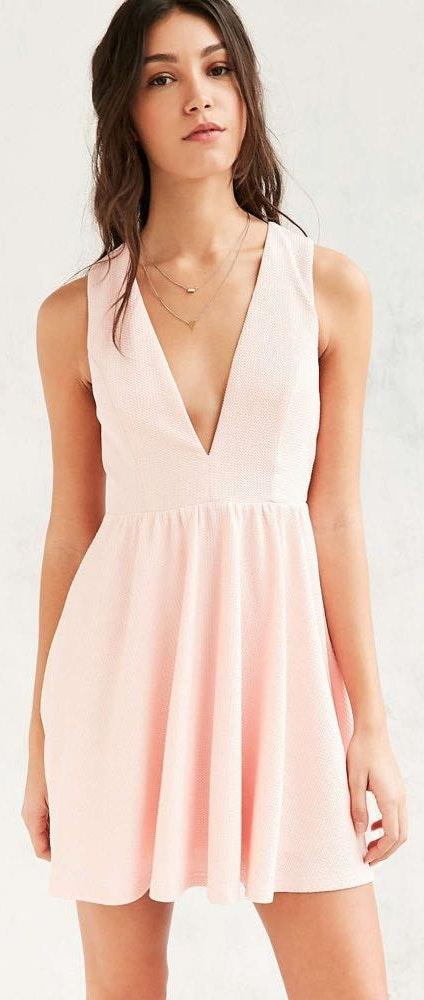 Urban Outfitters Lucca Light Pink Textured Dress