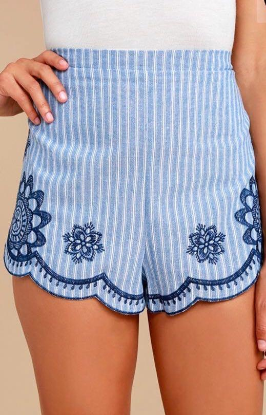 Lulus STRIPED EMBROIDERED SHORTS