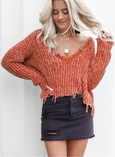 Skylar + Madison Shredded V Neck Gucci Chenille Sweater