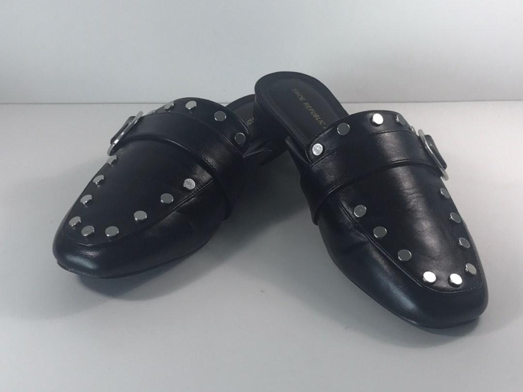 Faux Leather Black Flats