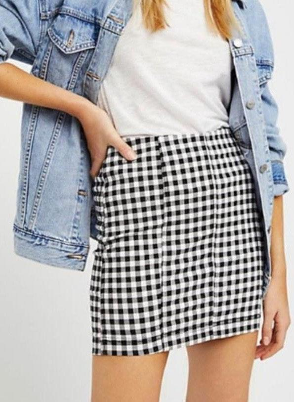 Free People Gingham Skirt