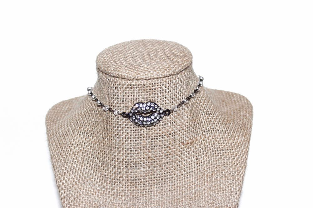 Beaded by Meg Gunmetal Smooch Choker
