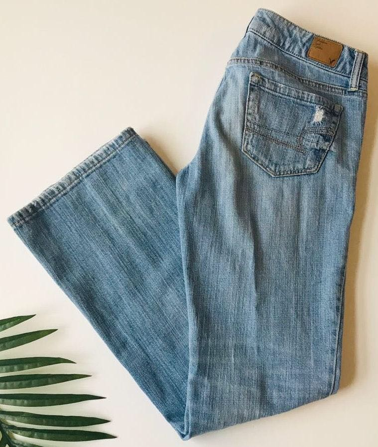 American Eagle Outfitters AEO Boyfriend Heavily Distressed Denim Jeans