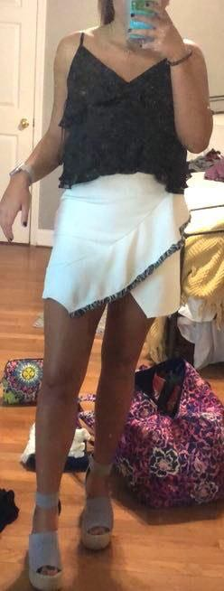 ASOS White Ruffle Skirt
