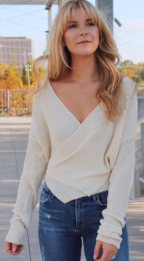 Cotton Candy LA White Wrap Sweater
