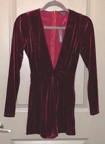 Boutique Long Sleeve Velvet Romper