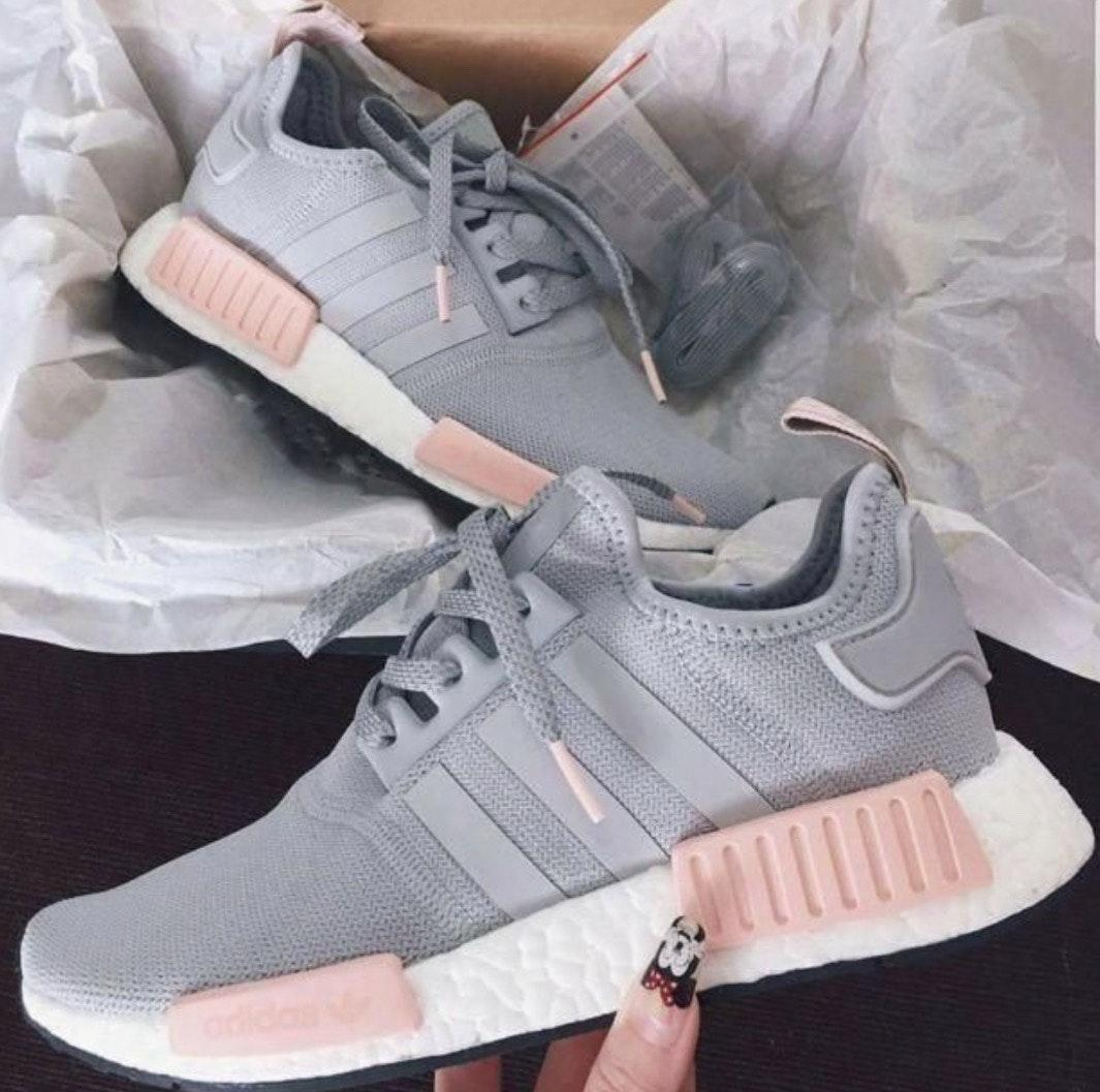 Adidas Women S Nmd R1 Grey Pink Sneakers Curtsy