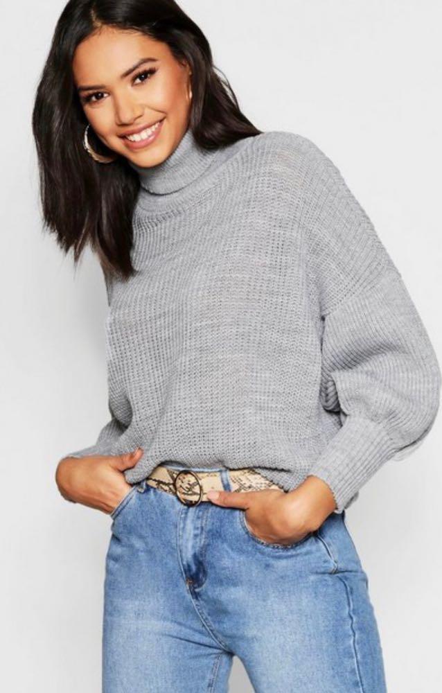 Boohoo Cropped Grey Turtleneck Sweater