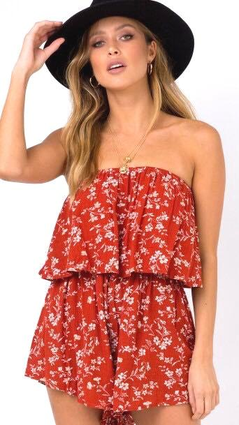 Princess Polly Flowy Red Romper