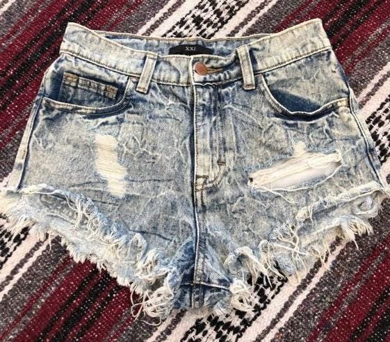 Forever 21 Stone Washed High Waisted Jean Shorts