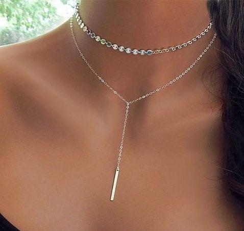 Silver Layered Choker Necklace