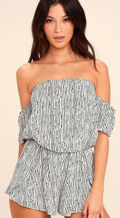 Lulus Black And White Off The Shoulder Romper