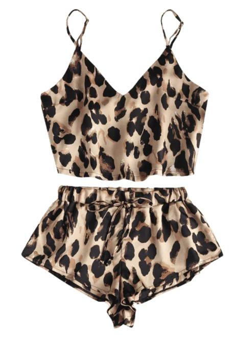 Zaful Leopard Print Satin Crop Cami Top Shorts Pajama Set