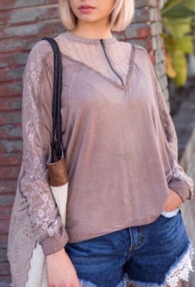 POL Pretty Boho Style Stone Wash Lace Top Blouse
