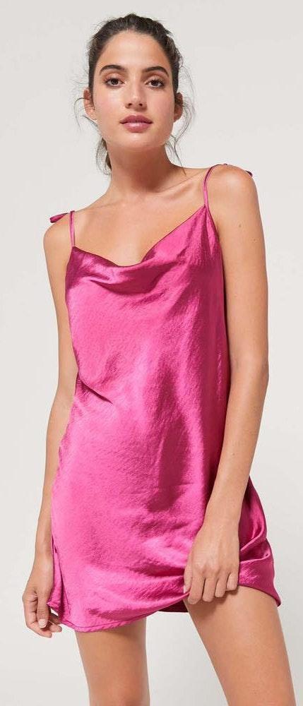 Motel Magenta Silky Dress