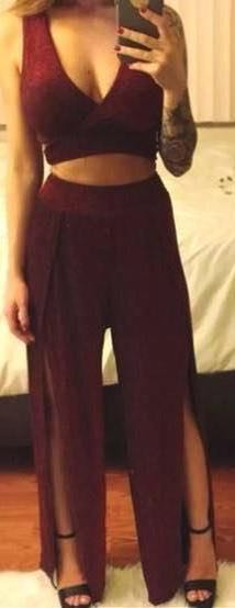 Two Piece Burgundy Pant Sent