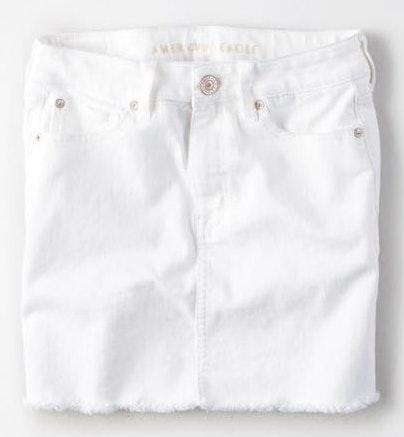 American Eagle Outfitters White High Waisted Denim Skirt