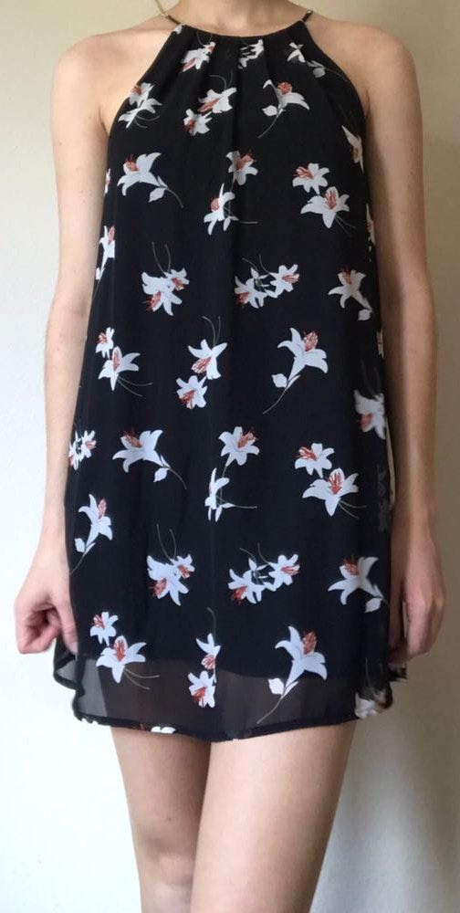 Lush Clothing Floral High Neck Shift