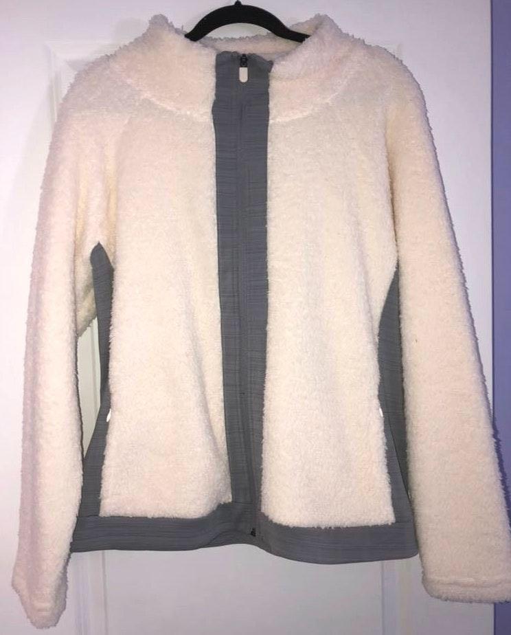 FILA White & Grey Fuzzy Zip Up