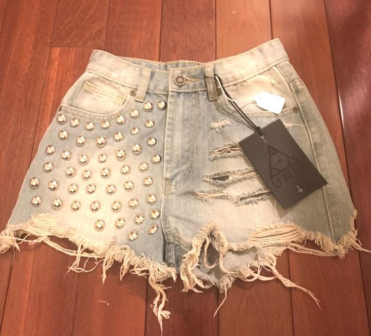 Urban Outfitters UNIF Frayed Destroyed Stud High Waisted Denim Shorts