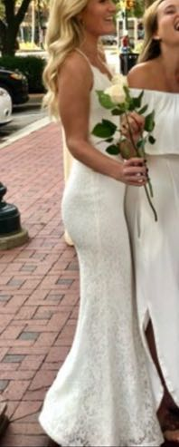 Lulus White Lace Gown