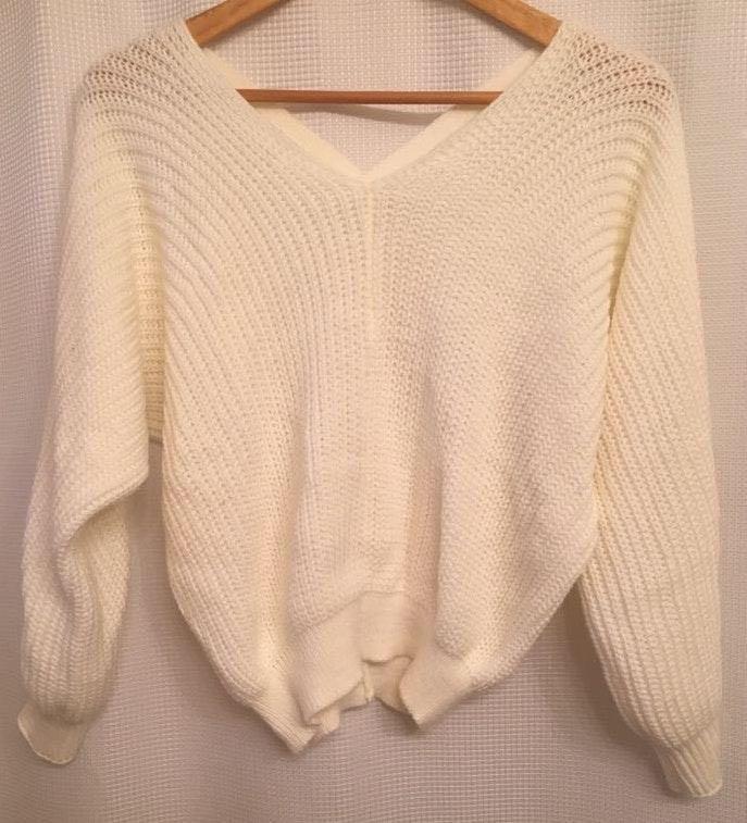 Bulky Cross Back White Sweater