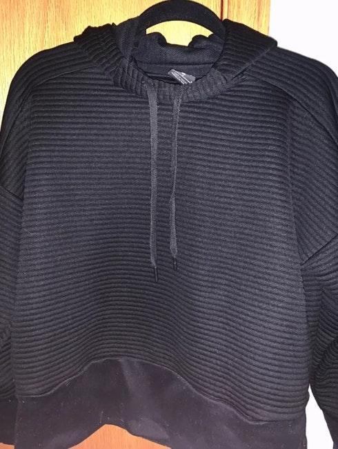Nike Ribbed Black Mock Neck Hooded Sweatshirt Dri-Fit Medium Women's
