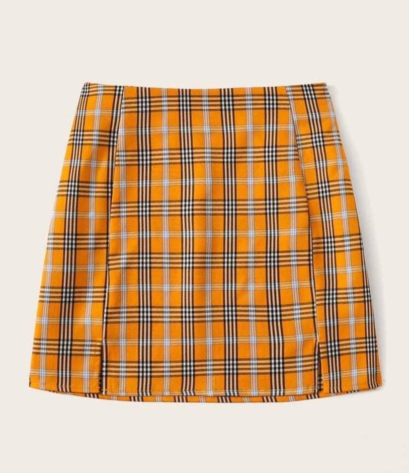 SheIn Orange plaid skirt