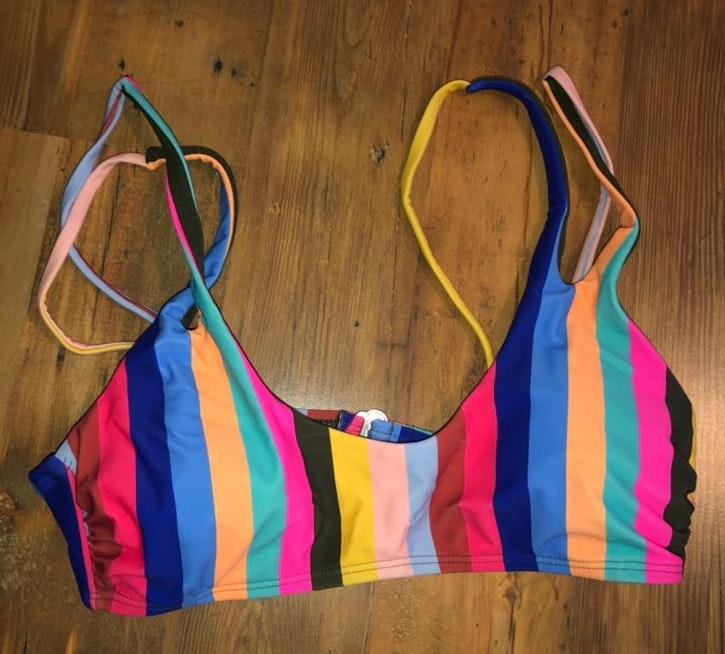 rainbow bra style bikini top