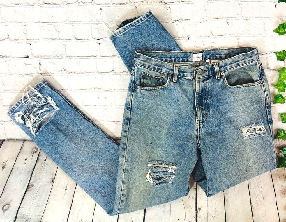 Calvin Klein Vintage  High Rise Distressed Straight Mom Jeans